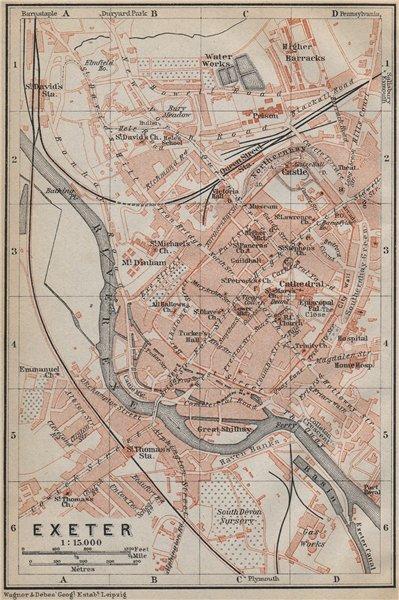 Associate Product EXETER antique town city plan. Devon. BAEDEKER 1910 old map chart