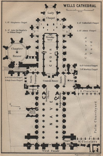Associate Product WELLS CATHEDRAL floor plan. Somerset. BAEDEKER 1910 old antique map chart