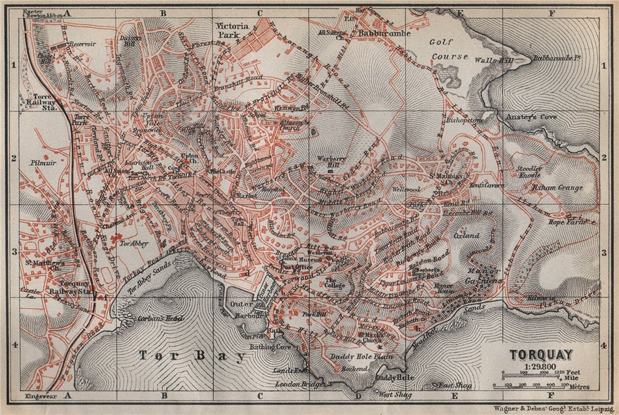 Associate Product TORQUAY antique town city plan. Torbay Babbacombe. Devon. BAEDEKER 1910 map