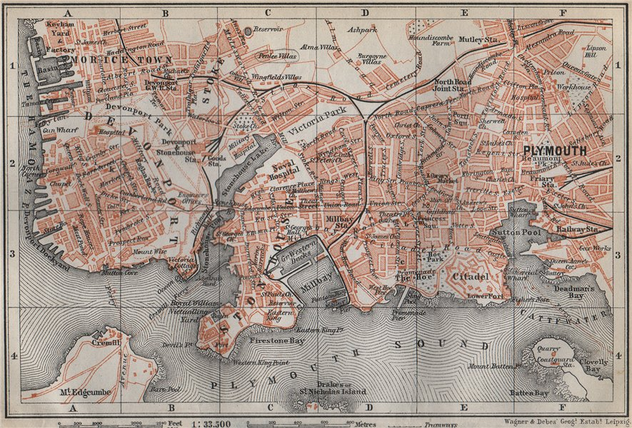 Associate Product PLYMOUTH town city plan. Stonehouse Stoke Devonport Morice Town 1910 old map