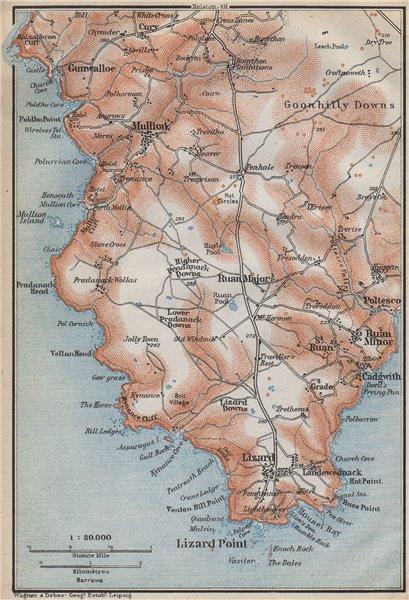 Associate Product THE LIZARD PENINSULA. Mullion Ruan Goonhilly Downs topo-map. Cornwall 1910