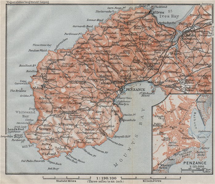 Associate Product PENWITH PENINSULA & PENZANCE town plan. Land's End St Ives. Cornwall 1910 map