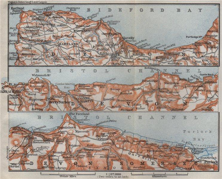 Associate Product DEVON/EXMOOR NORTH COAST. Hartland Clovelly Ilfracombe Lynton Porlock 1910 map