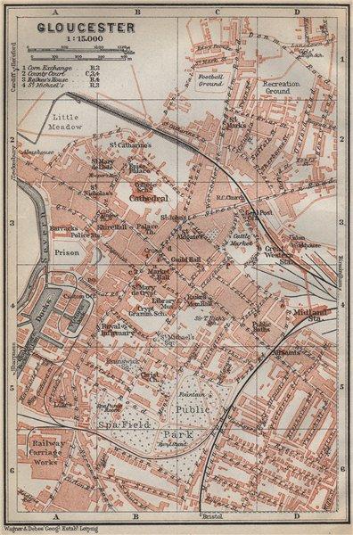 Associate Product GLOUCESTER antique town city plan. Docks. Gloucestershire. BAEDEKER 1910 map