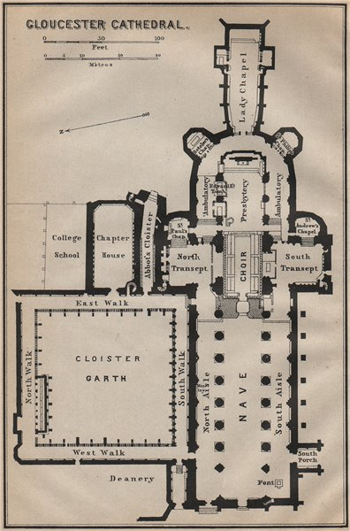 Associate Product GLOUCESTER CATHEDRAL floor plan. Gloucestershire. BAEDEKER 1910 old map