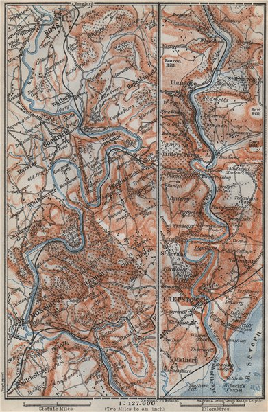 Associate Product WYE VALLEY topo-map. Chepstow Ross-on-Wye Monmouth. Monmouthshire 1910 old