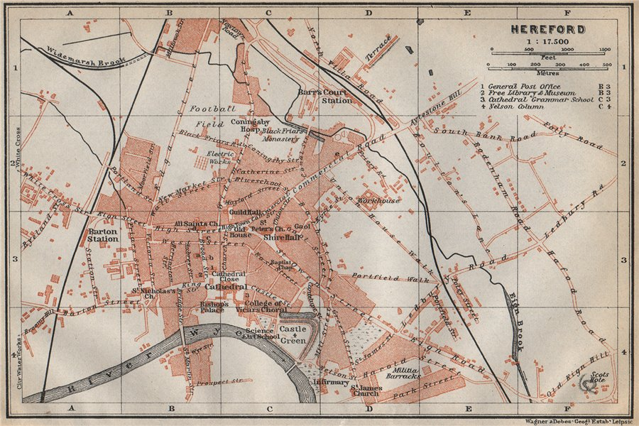 Associate Product HEREFORD antique town city plan. Broomy Hill. Herefordshire. BAEDEKER 1910 map