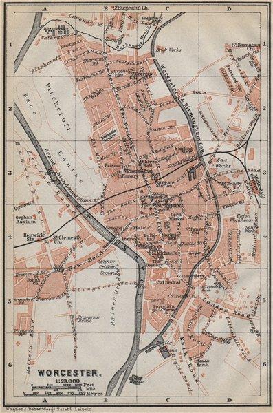 Associate Product WORCESTER antique town city plan. St John's. Worcestershire. BAEDEKER 1910 map