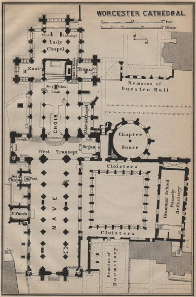 Associate Product WORCESTER CATHEDRAL floor plan. Worcestershire. BAEDEKER 1910 old antique map