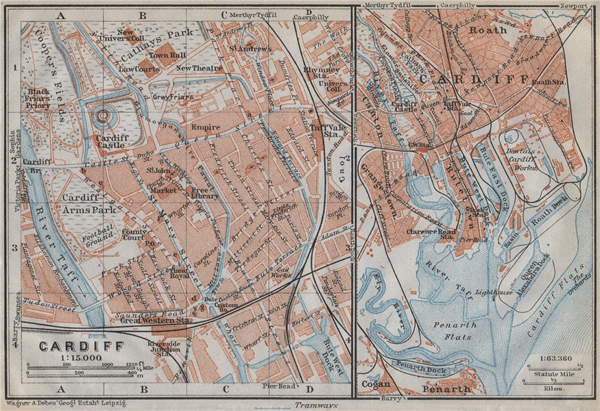 Associate Product CARDIFF town city plan. St David's Centre Newtown Century Wharf. Wales 1910 map