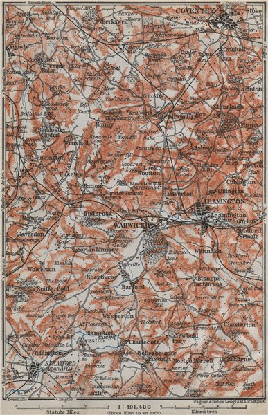 Associate Product SHAKESPEARE COUNTRY. Warwick Leamington Stratford Kenilworth Coventry 1910 map