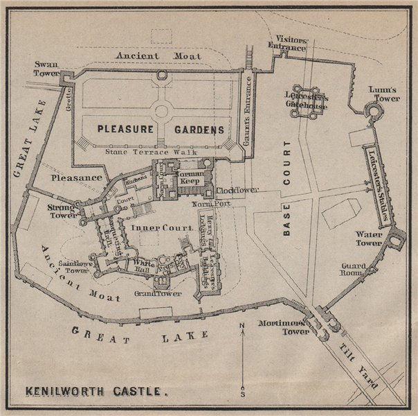 Associate Product KENILWORTH CASTLE ground plan. Warwickshire. BAEDEKER. SMALL 1910 old map