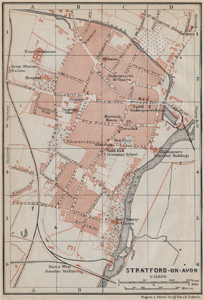 Associate Product STRATFORD-UPON-AVON antique town city plan. Old Town. Warwickshire 1910 map
