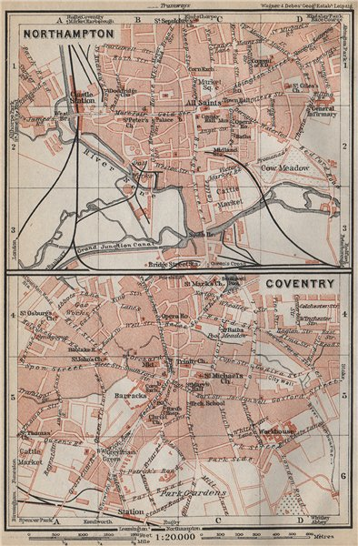 Associate Product NORTHAMPTON & COVENTRY town city plans. Pre World War 2. Midlands 1910 old map