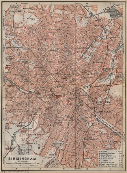 Associate Product BIRMINGHAM town city plan. Edgbaston Aston Deritend Bordesley Saltley 1910 map