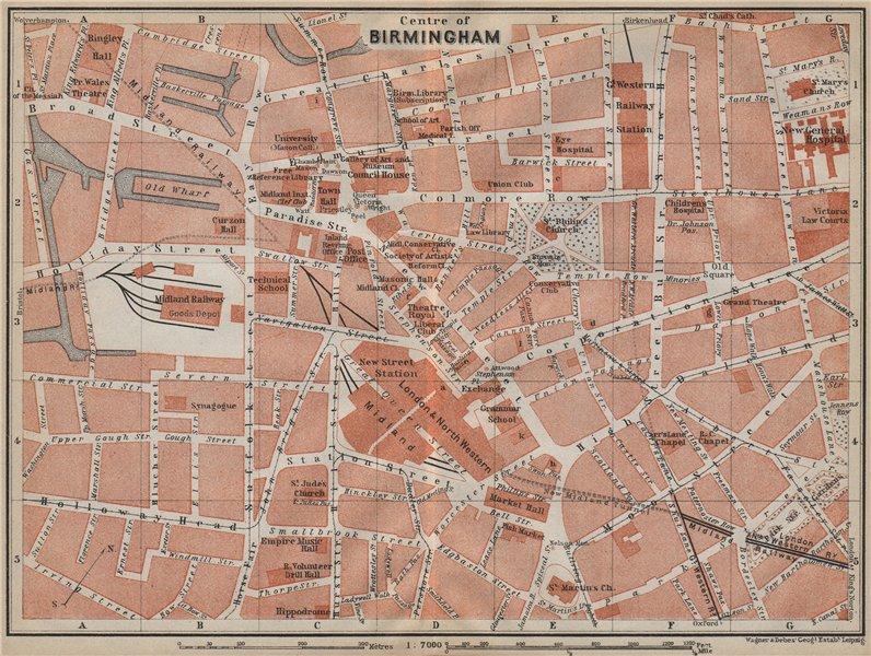Associate Product BIRMINGHAM CITY CENTRE antique town plan. BAEDEKER 1910 old map chart