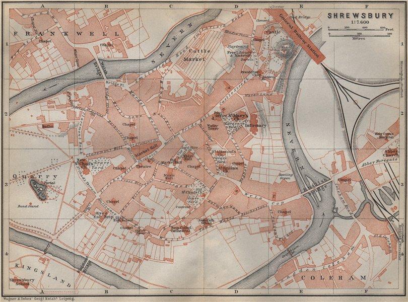 Associate Product SHREWSBURY town city plan. Frankwell Coleham Kingsland. Shropshire 1910 map