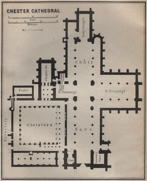 Associate Product CHESTER CATHEDRAL floor plan. Cheshire. BAEDEKER 1910 old antique map chart