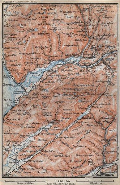 Associate Product DOLGELLAU area topo-map. CADER IDRIS Barmouth Mawddach river Snowdonia 1910
