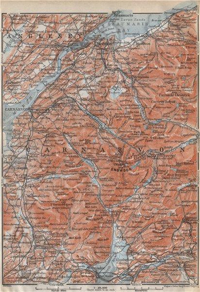 SNOWDONIA topo-map. Caernarfon Bangor Menai Straits. Tremadoc. Wales 1910