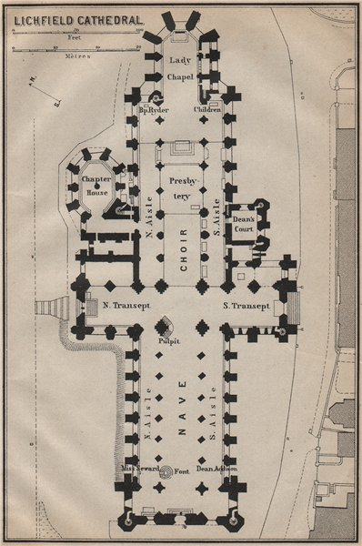 Associate Product LICHFIELD CATHEDRAL floor plan. Staffordshire. BAEDEKER 1910 old antique map