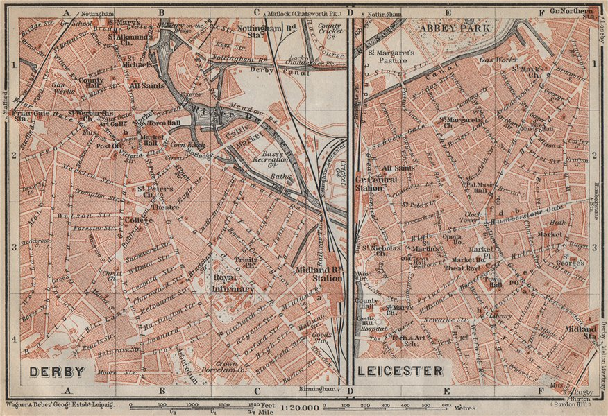Associate Product DERBY & LEICESTER antique town city plans. Midlands. BAEDEKER 1910 old map