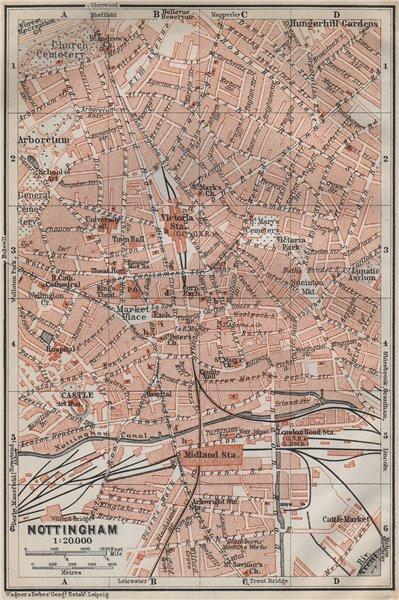 Associate Product NOTTINGHAM antique town city plan. Nottinghamshire. BAEDEKER 1910 old map