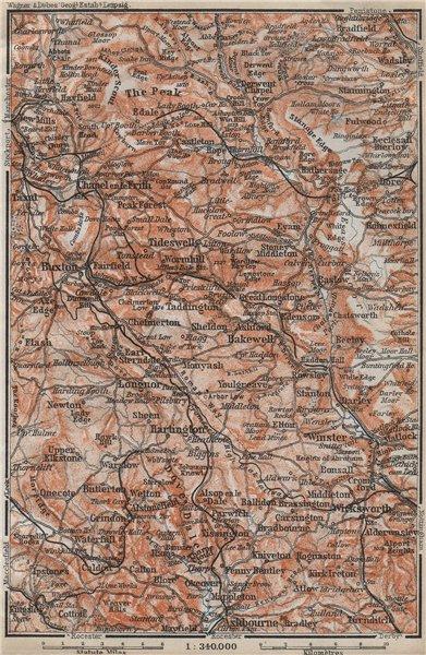 Associate Product DERBYSHIRE PEAK DISTRICT. Buxton Asbourne Bradfield Eyam Hathersage 1910 map