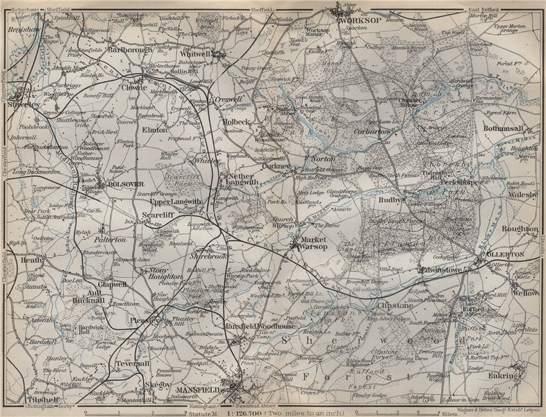 Associate Product SHERWOOD FOREST & THE DUKERIES. Worksop Mansfield Ollerton Staveley 1910 map