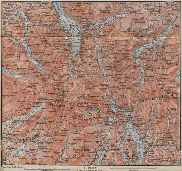 Associate Product THE LAKE DISTRICT topo-map. Keswick Wimdermere Grasmere Ambleside 1910 old