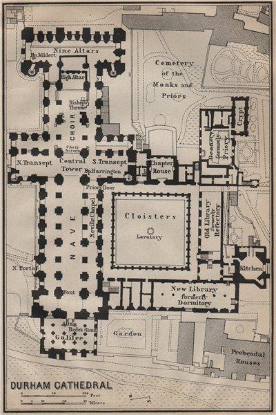 DURHAM CATHEDRAL floor plan. Durham. BAEDEKER 1910 old antique map chart