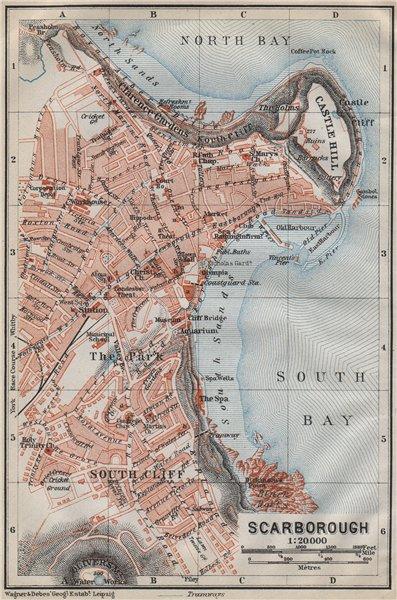 Associate Product SCARBOROUGH antique town city plan. South Cliff. Yorkshire. BAEDEKER 1910 map