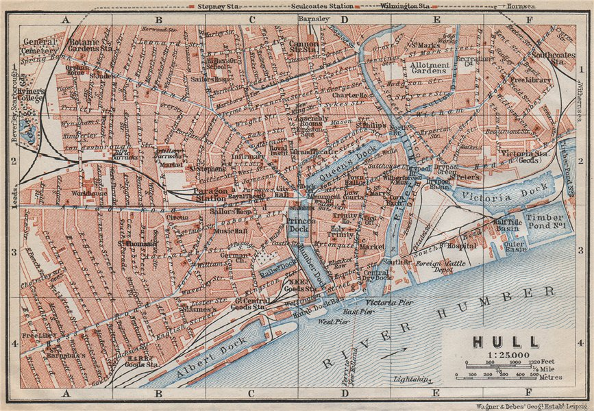 Associate Product KINGSTON-UPON-HULL antique town city centre plan. Yorkshire. BAEDEKER 1910 map