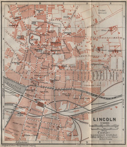 Associate Product LINCOLN antique town city plan. Lincolnshire. BAEDEKER 1910 old map