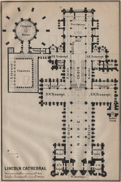 LINCOLN CATHEDRAL floor plan. Lincolnshire. BAEDEKER 1910 old antique map