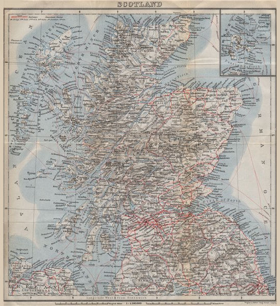 Associate Product RAILWAY MAP OF SCOTLAND. Steamboat steamship routes. BAEDEKER 1910 old