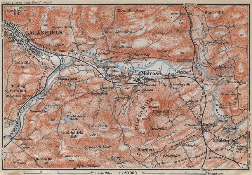 Associate Product TWEED RIVER VALLEY Melrose Abbotsford Galashiels Eildon Hills Scotland 1910 map