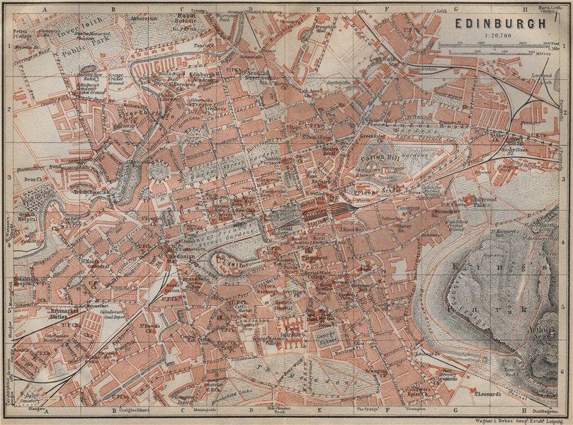 Associate Product EDINBURGH antique town city centre plan. Scotland. BAEDEKER 1910 old map