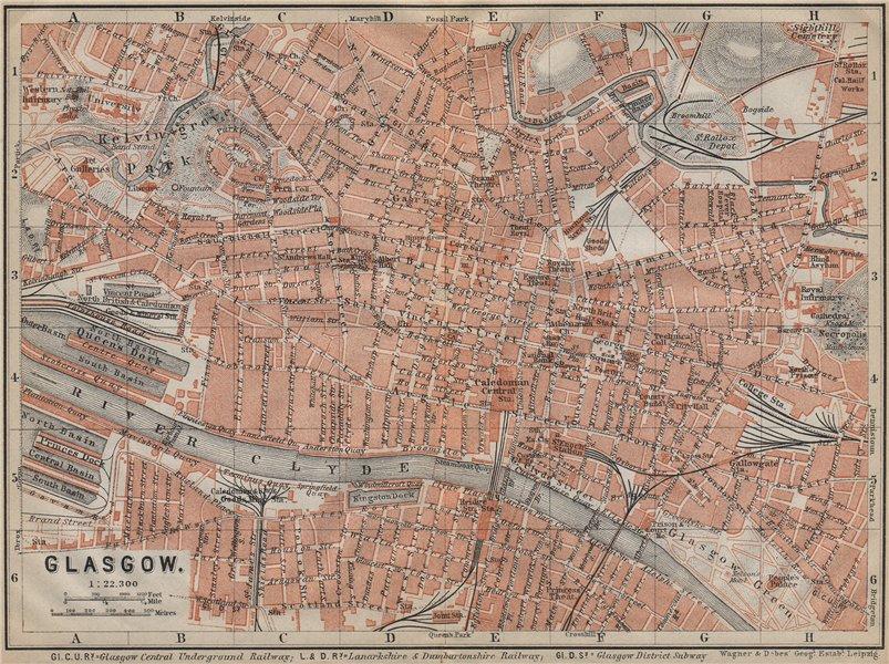 Associate Product GLASGOW antique town city centre plan. Scotland. BAEDEKER 1910 old map