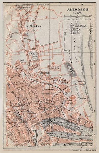 Associate Product ABERDEEN antique town city plan. Docks. Scotland. BAEDEKER 1910 old map