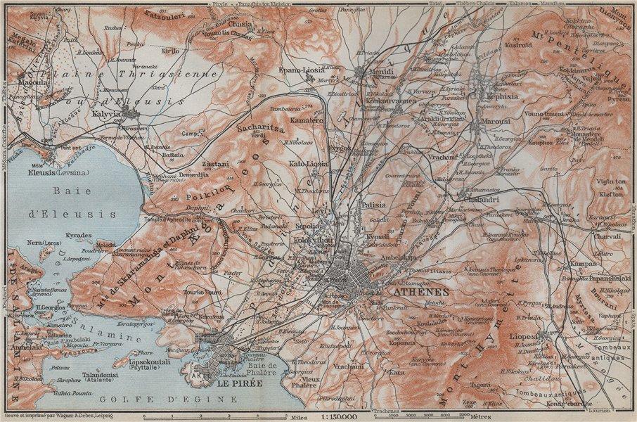 Associate Product ATHENS ENVIRONS. Piraeus Aspropyrgos Acharnes. Greece. BAEDEKER 1909 old map