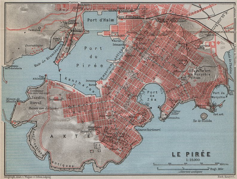 Piraeus Antique Town City Plan Athens Greece 1909