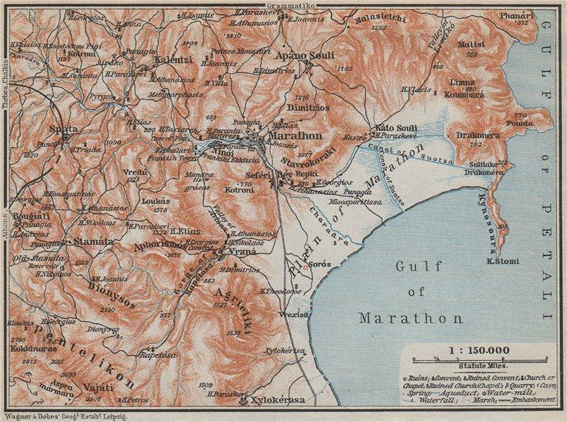 Associate Product MARATHON ENVIRONS. Marathonas Schinias Ano Souli. Topo-map. Greece 1909