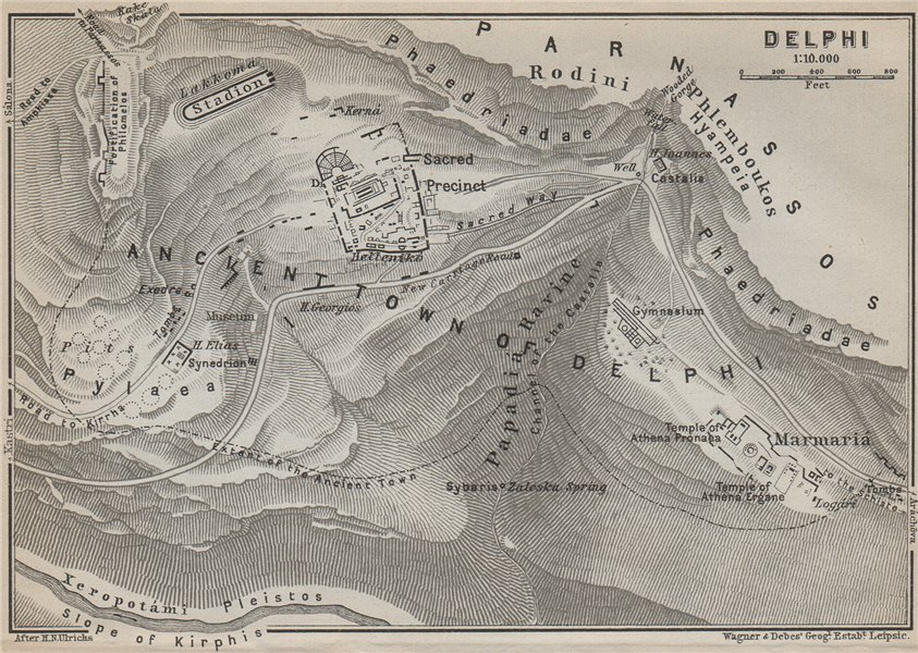Associate Product DELPHI ground plan. Mount Parnassus. Valley of Phocis. Greece 1909 old map