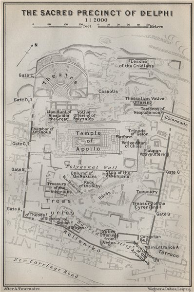 Associate Product THE SACRED PRECINCT AT DELPHI ground plan. Greece. BAEDEKER 1909 old map