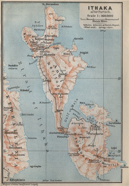 Associate Product ITHACA / ITHAKA island topo-map after PARTSCH. Stavros Vathy. Greece 1909