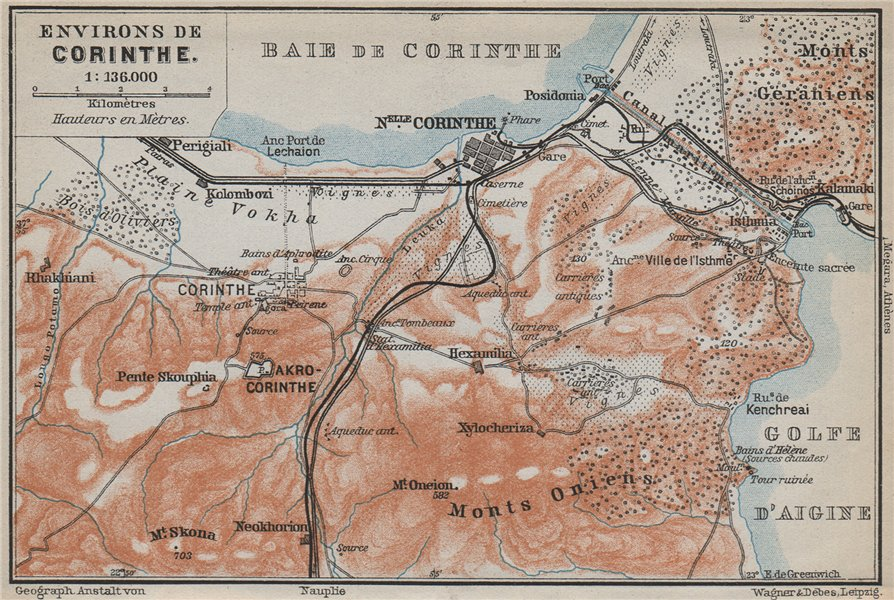 Associate Product CORINTH ENVIRONS. Canal. Korinthos Isthmia. Greece. BAEDEKER 1909 old map