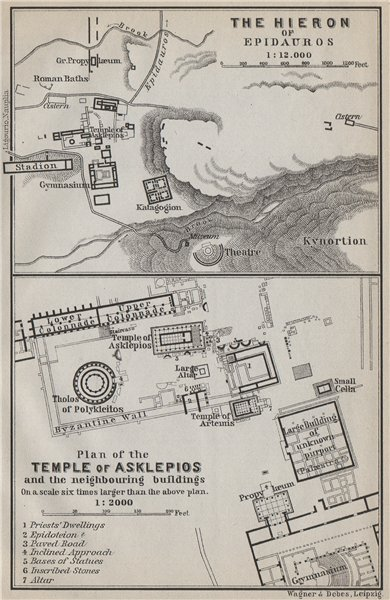 Associate Product EPIDAURUS/EPIDAVROS. Hieron Asklepios/Asklepius temple/sanctuary plans 1909 map