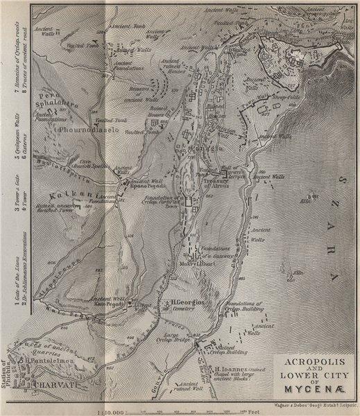 Associate Product MYCENAE. The Acropolis & Lower City ground plan. Mykines, Greece 1909 old map