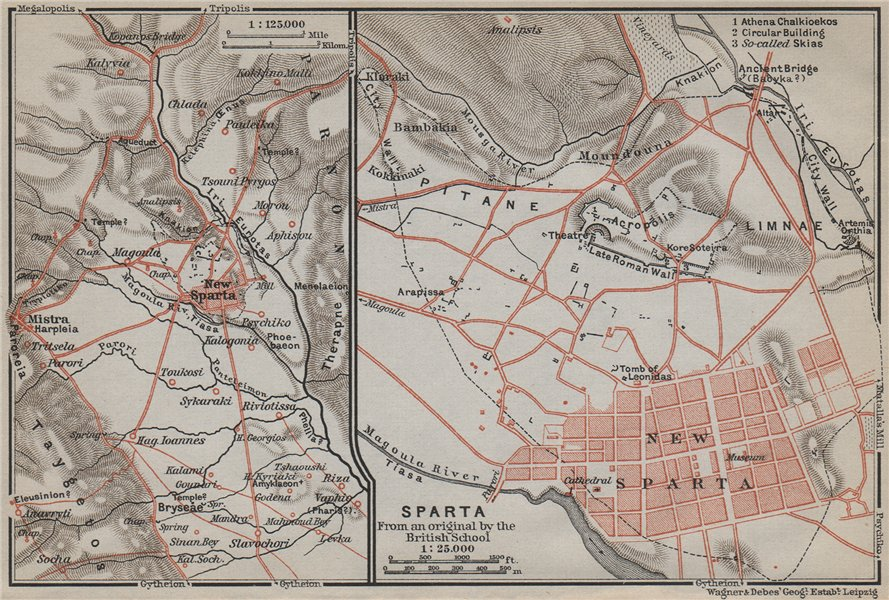 Associate Product NEW SPARTA / SPARTI antique town plan/environs. Acropolis. Greece 1909 old map